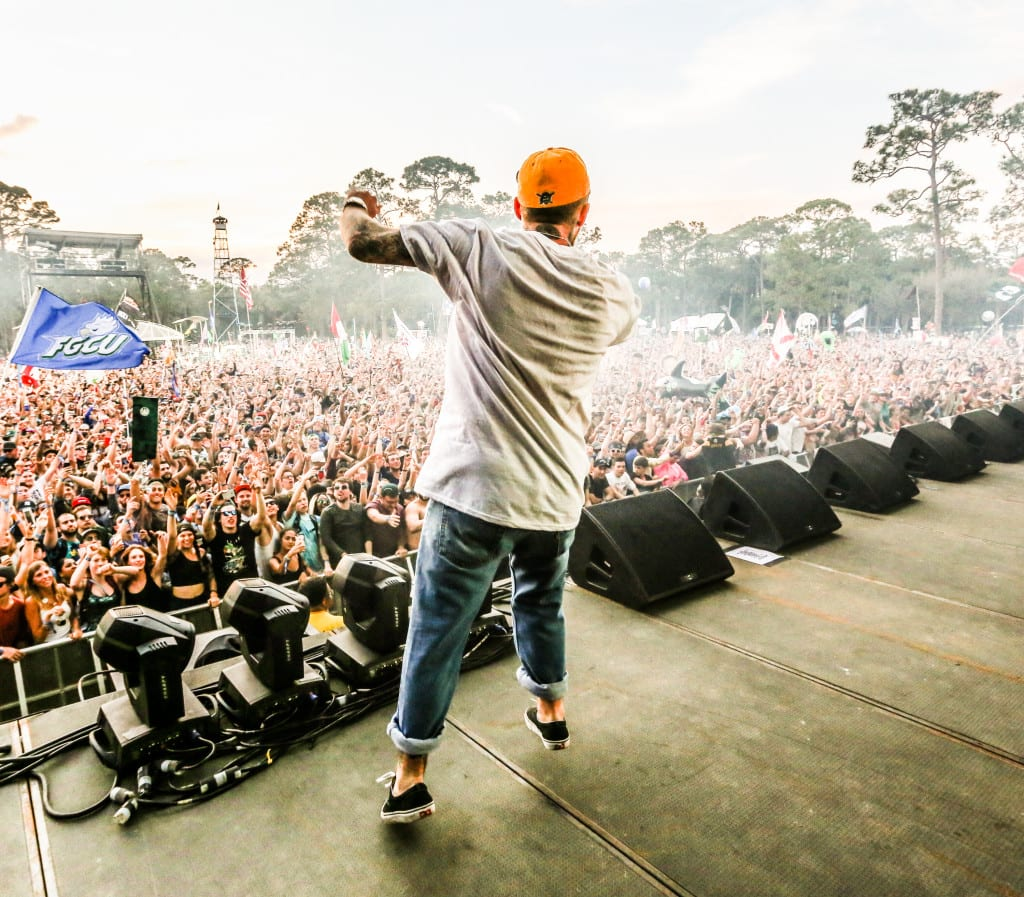 Mac Miller gets the crowd pumped up on a Saturday afternoon at Okeechobee Music and Arts Festival