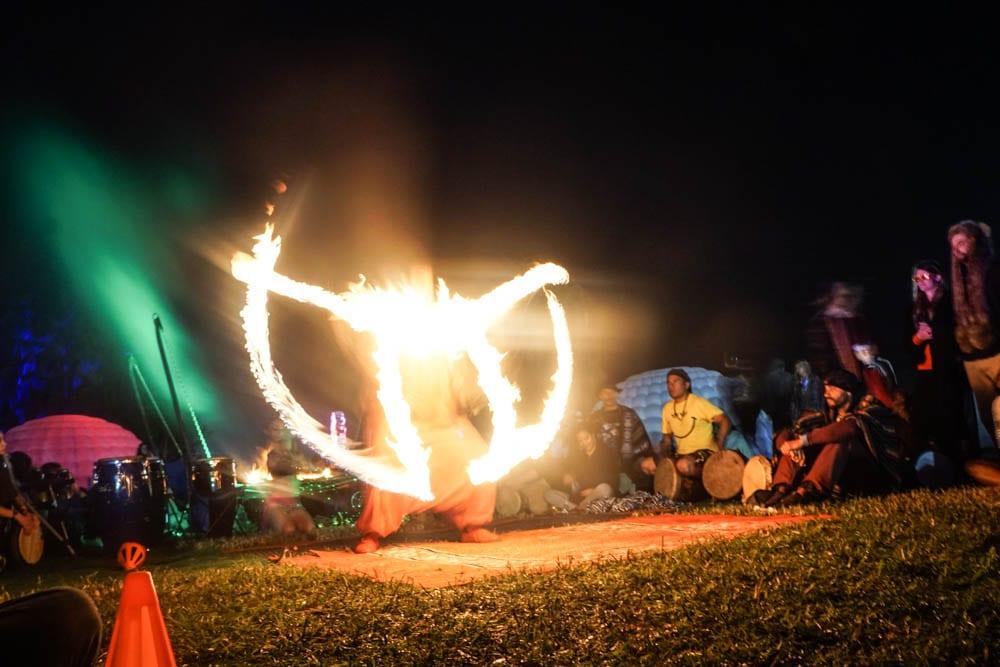 Fire spinners in Spirit Ill at Chobeewobee Village. Photo: Amanda Nulph // MusicFestNews